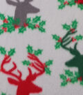 Anti-Pill Fleece Fabric 59\u0022-Stag Head Holly