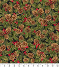Christmas Cotton Fabric-Glitter Pinecones & Holly