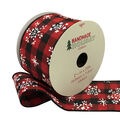 Handmade Holiday Ribbon 2.5\u0027\u0027x25\u0027-Snowflakes on Red & Black Checks