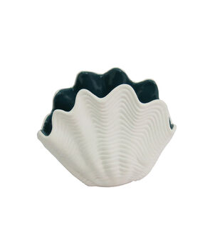 Seaside White Seashell Container with Blue Inside