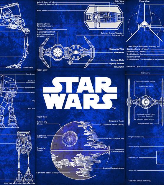 Licensed Cotton Fabric Star Wars Blueprint