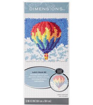Dimensions 12''x12'' Latch Hook Kit-Hot Air Balloon