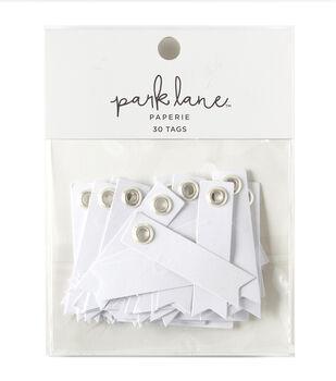Park Lane Paperie 30 pk Metal Rim Tags-Silver & White