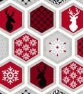 Christmas Cotton Fabric-Metallic Honeycomb
