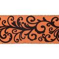 Cascade Fall Satin Ribbon 2.5\u0022x10 yds-Brown Flocked Scrolls on Orange