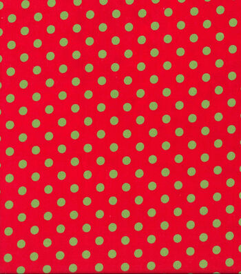Christmas Cotton Fabric -Green Dots