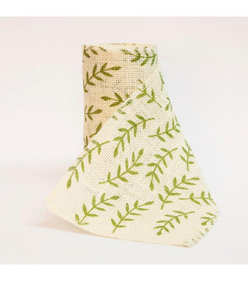 "Fresh Picked Spring 5""x15ft Burlap Ribbon-Greenery"