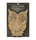 Owl Gold Foil Cording Applique