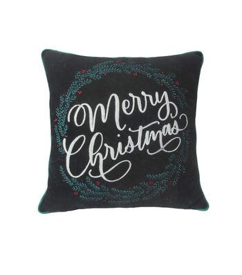 Maker's Holiday Christmas Pillow-Merry Christmas on Black