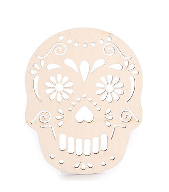 Fab Lab Halloween  Unfinished Laser-Cut Wood Skull Shape
