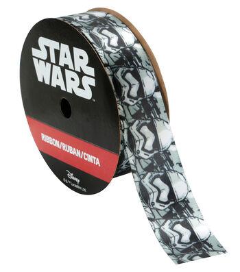 Offray Disney Satin Ribbon 7/8''x9'-Black & White Star Wars