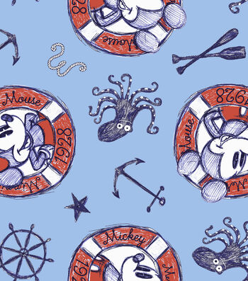 Disney Mickey & Minnie Mouse Fabric 44''-Nautical Sailing Since 1928