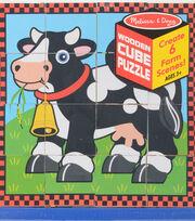Melissa & Doug Wooden Cube Puzzle-Farm, , hi-res