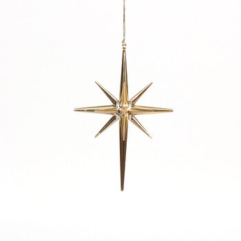 Handmade Holiday Christmas Mystical Midnight Drop Star Ornament-Gold