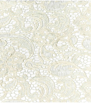 Save The Date Heavy Lace Fabric -Embroidered Ivory