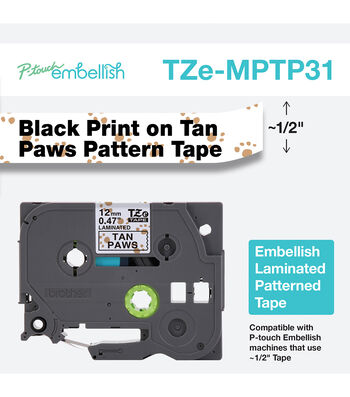 Brother P-touch Embellish Patterned Tape-Black Print on White with Paws