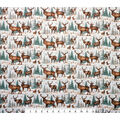 Super Snuggle Flannel Fabric-Deer and Evergreens on White