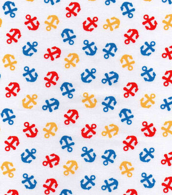 Nursery Cotton Fabric -Bright Anchors