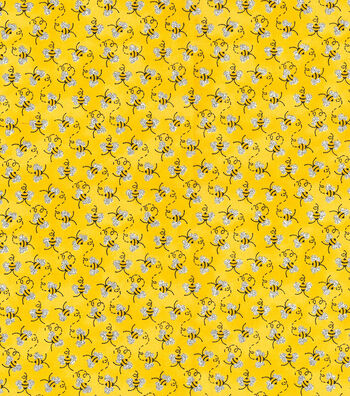 "Novelty Cotton Fabric 44""-Mini Bees With Glitter"