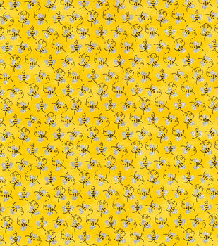 """Novelty Cotton Fabric 44""""-Mini Bees With Glitter"""