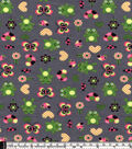 Snuggle Flannel Fabric -Frogs And Flowers Gray
