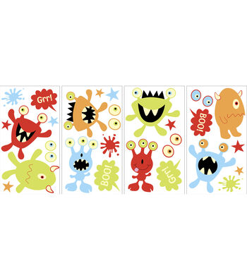 Wall Pops Glow in the Dark Monsters Appliques, 27 Piece Set