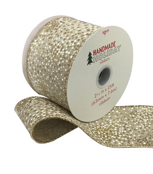Handmade Holiday Christmas Speckled Ribbon 2.5''x25'-Gold & Ivory
