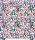 Silky Print Rayon Fabric 53\u0027\u0027-Sparrows & Ferns
