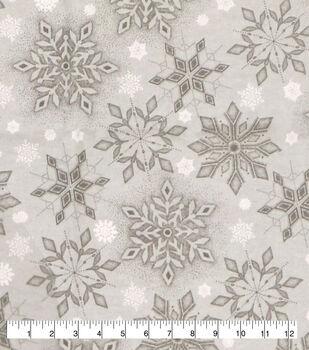 Super Snuggle Flannel Fabric-Gray on Gray Snowflake