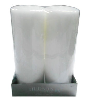 Hudson 43 Candle & Light Collection 2 Pack 3X8 Od Pillar Unscented White