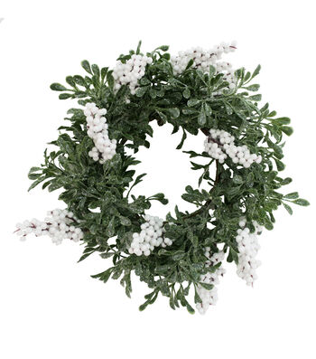 Blooming Holiday Christmas 13'' White Berry & Glistening Greenery Wreath