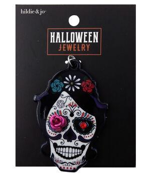 hildie & jo Halloween Pendant-Skull Pink Turquoise