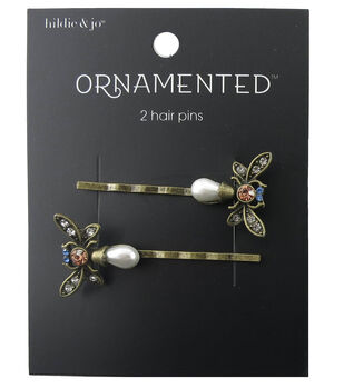 hildie & jo Ornamented 2 Pack Butterfly Antique Gold Hair Pins