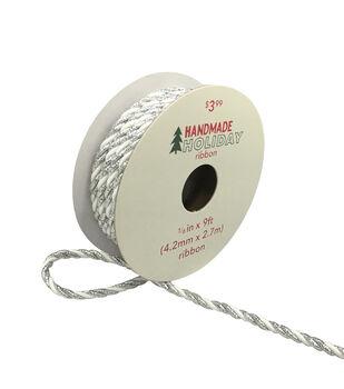 Handmade Holiday Christmas Ribbon 1/6''x9'-White & Iridescent Silver