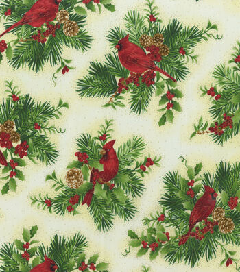Christmas Cotton Fabric-Cardinals Sitting on Holly