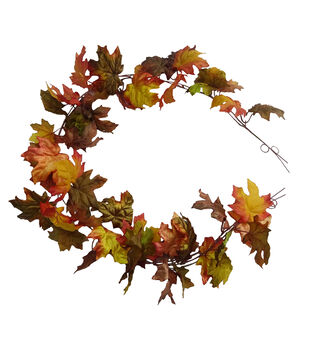 Blooming Autumn 66'' Shimmer Maple Leaf Garland-Multi