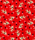 Snuggle Flannel Fabric -Dogs with Spots on Red