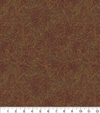 """Harvest Cotton Fabric 43""""-Rust Leaves Outline"""