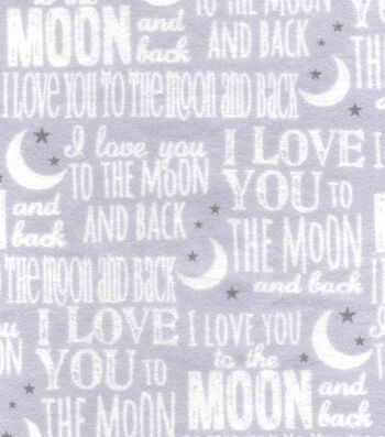 Nursery Flannel Fabric -Love You To The Moon