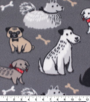 40d48127c243 Blizzard Fleece Fabric-Multi Colored Dogs on Gray
