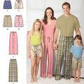 Simplicity Pattern 1520A Adult & Children\u0027s Pants-Size XS-L/XS-XL