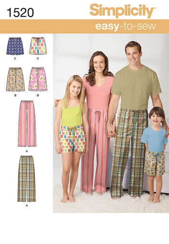 Simplicity Pattern 1520A Adult & Children's Pants-Size XS-L/XS-XL