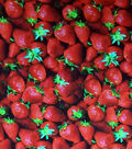 Novelty Cotton Photo Real Fabric -Strawberries