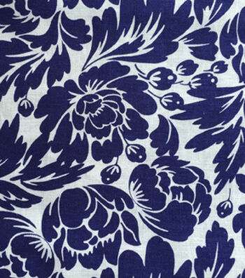 Warm Weather Apparel Fabric-Silhouette Floral Navy White