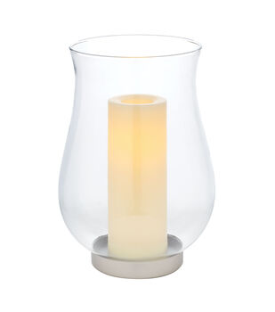 Hudson 43 Clear Glass Hurricane with LED Pillar Candle
