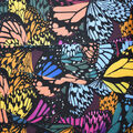 Silky Print Textured Fabric-Multi Butterfly