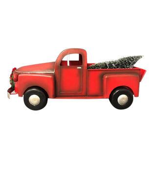 Handmade Holiday Christmas Truck Tabletop Decor-Red