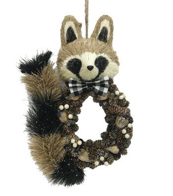 Blooming Holiday Christmas Pinecone Raccoon with Bowtie Wall Decor
