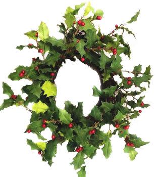 Handmade Holiday Christmas 24'' Holly Leaf & Berry Wreath