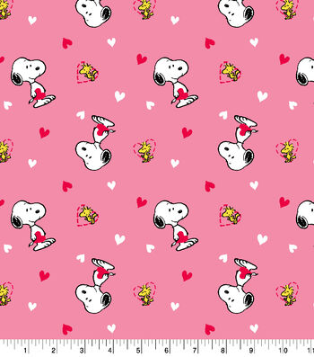 Snoopy and Woodstock Cotton Fabric-Valentines